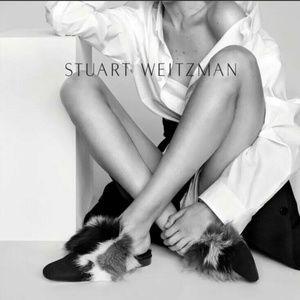 🆕STUART WEITZMAN Mules Genuine Rabbit Fur Slide
